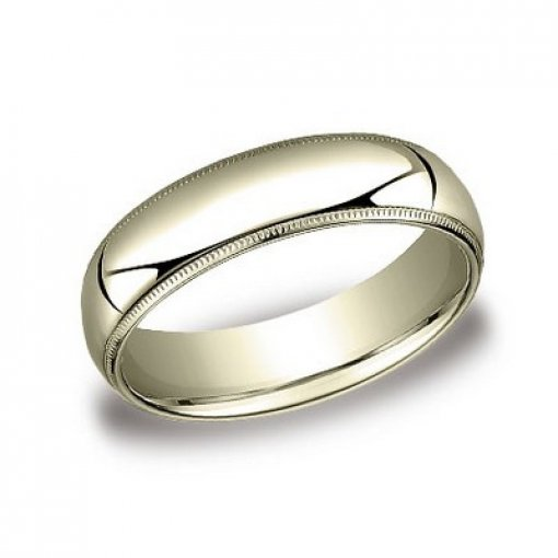 Benchmark 6mm Comfort Fit 14K Yellow Gold Milgrain Wedding Ring Band