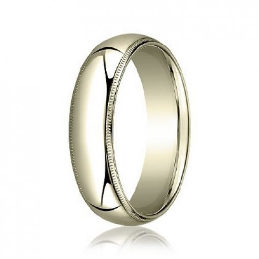 Benchmark 8mm Comfort Fit 18K Yellow Gold Milgrain Wedding Ring Band