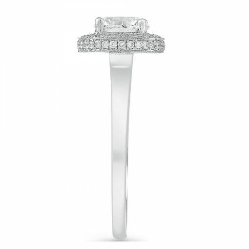 Semi-Mount 18K White Gold Diamond Halo Engagement Ring with 0.25ctw Round Diamonds