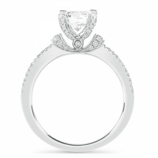 Semi-Mount 18K White Gold Diamond Engagement Ring with 0.34ctw Round Diamonds