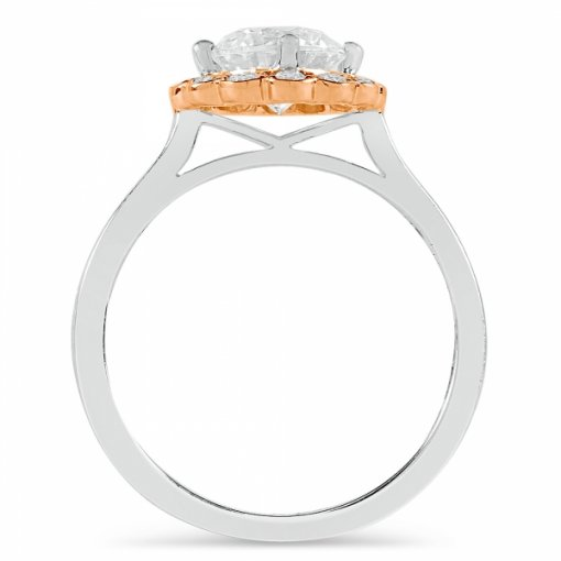 Semi-Mount 18K Two Tone Gold Halo Diamond Engagement Ring with 0.23ct Round Diamonds