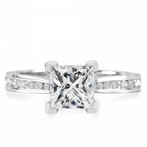 Semi-Mount 18K White Gold Engagement Ring with 0.23ct Princess Cut Diamonds