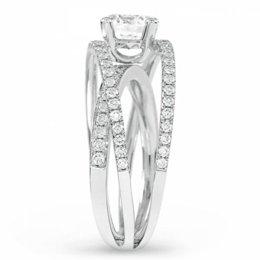 Semi-Mount 18K White Gold Criss Cross Engagement Ring with 0.69ctw Round Diamonds