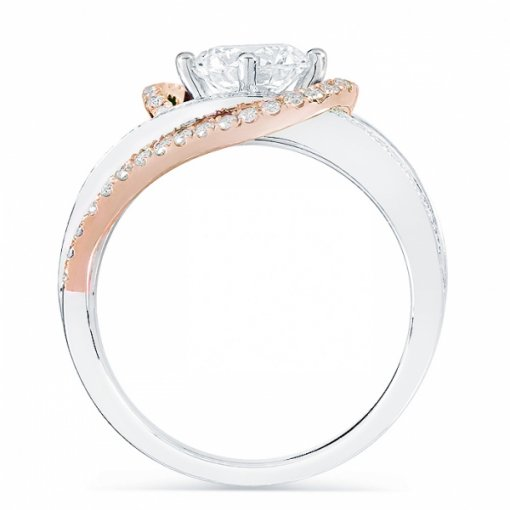 Semi-Mount 18K White Gold By Pass Engagement Ring with 0.51ctw Round Diamonds