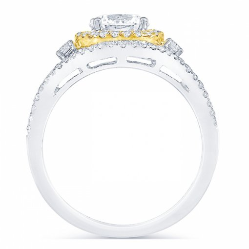 Semi-Mount 18K Two Tone Gold Engagement Ring with 0.5ctw Round Diamonds