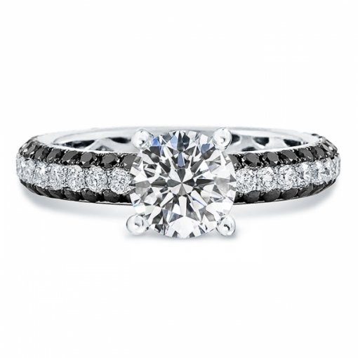 Semi-Mount 18K White Gold Pave Engagement Ring with 1.1ctw Round Diamonds