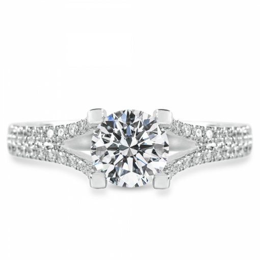 Semi-Mount 18K White Gold Pave Engagement Ring with 0.45ctw Round Diamonds