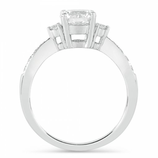 Semi-Mount 18K White Gold Engagement Ring with 0.17ctw Round Diamonds