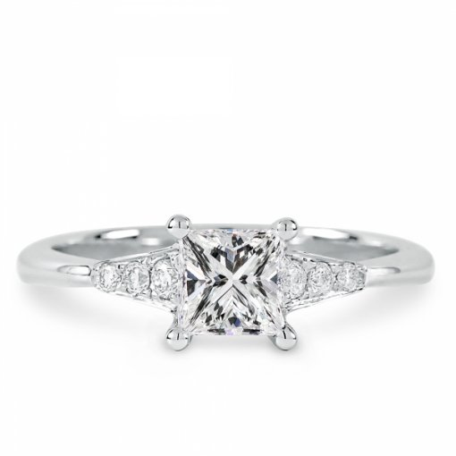 Semi-Mount 18K White Gold Engagement Ring with 0.11ctw Princess Cut Diamonds