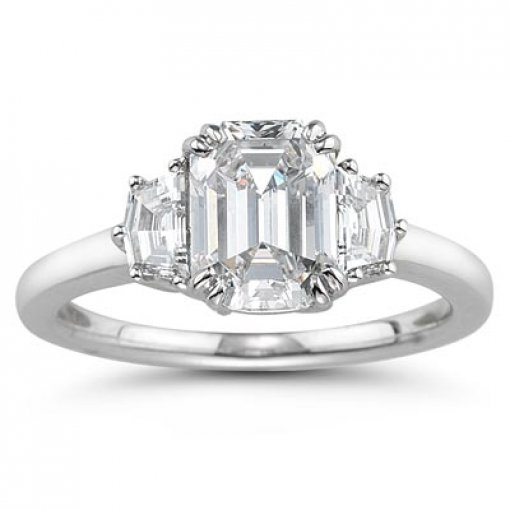 Semi-mount 14K White Gold Engagement Ring with 0.65ctw Trapezoid Diamond