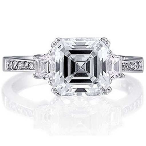 0.85 carat 3 Stone Trapezoid & Round Diamond Ring (Asscher Center)