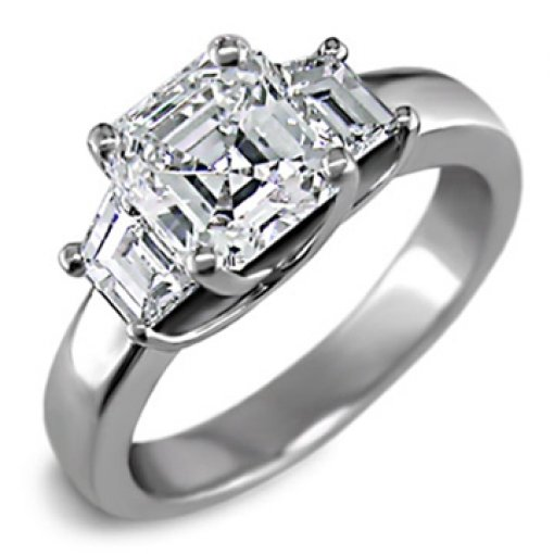 0.50 carat 3 Stone Trapezoid Diamond Ring (Asscher Center)