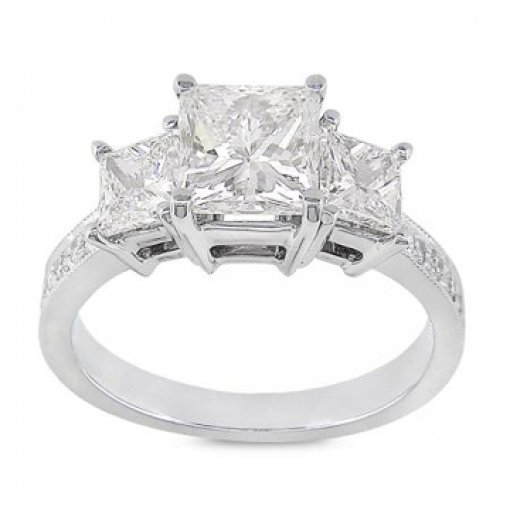1.10 carat Princess Diamond Channel Set 3 stone Engagement Ring Setting