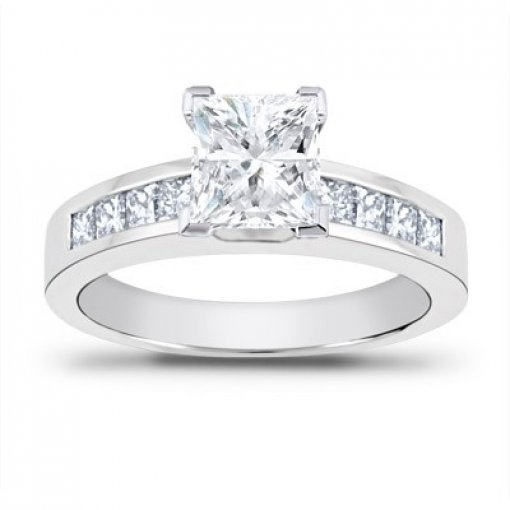 0.70 carat Princess Diamond Engagement Accent Setting (Princess Center)