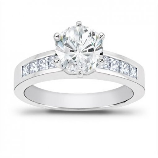 0.70 carat Princess Diamond Engagement Accent Setting (Round Center)