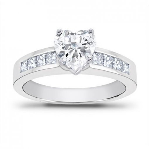 0.70 carat Princess Diamond Engagement Accent Setting (Heart Center)