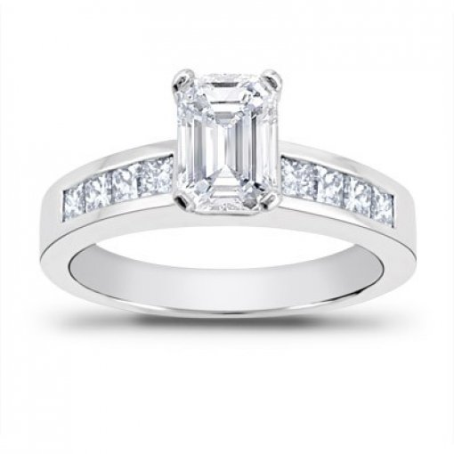0.70 carat Princess Diamond Engagement Accent Setting (Emerald Center)