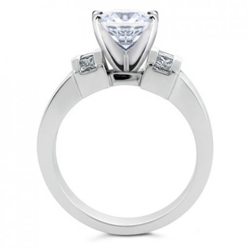 0.90 carat Princess Diamond Engagement Accent Setting (Heart Center)
