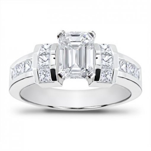 0.90 carat Princess Diamond Engagement Accent Setting (Emerald Center)