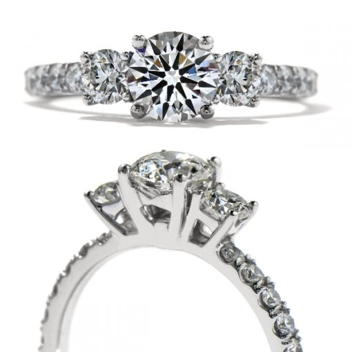 0.75 carat Round Diamond Pave Engagement 3 Stone Setting (Round Center)
