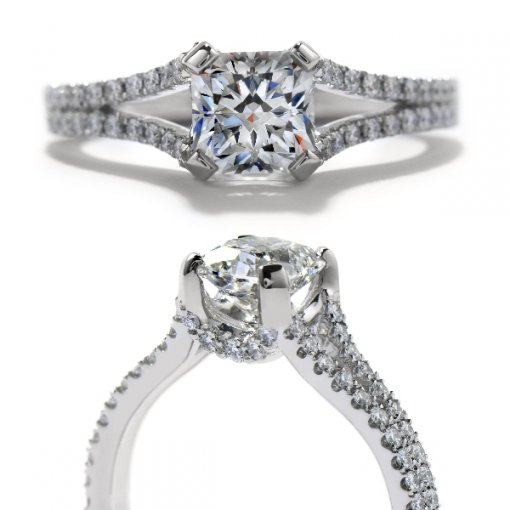 0.80 carat Round Diamond Pave Engagement Split Shank Setting (Princess Center)