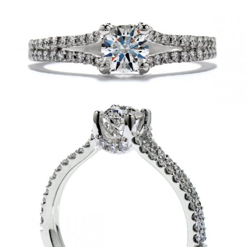 0.75 carat Round Diamond Pave Engagement Split Shank Setting (Round Center)
