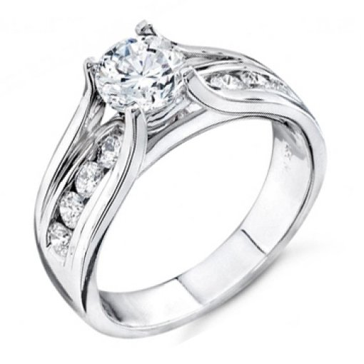 0.85 carat Round Diamond Channel Engagement Setting (Round Center)