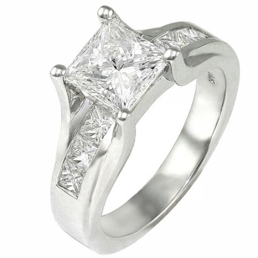 0.90 carat Princess Diamond Channel Engagement Setting (Princess Center)