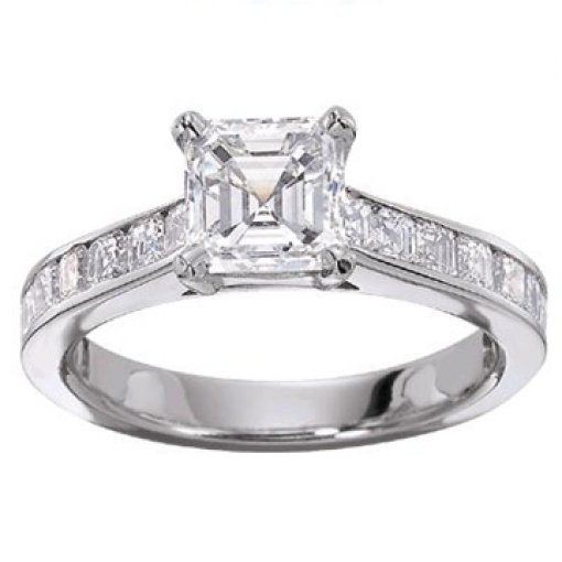 0.65 carat Princess Diamond Channel Engagement Setting (Asscher Center)