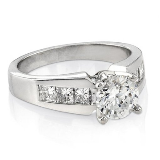 0.85 carat Princess Diamond Channel Engagement Setting (Round Center)