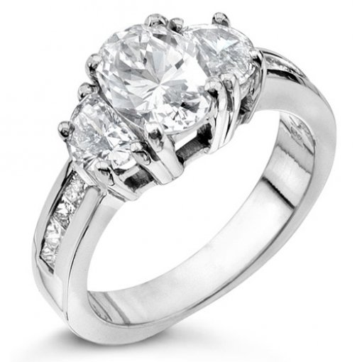 1.00 carat Princess & Half Moon Channel Setting (Oval Center)