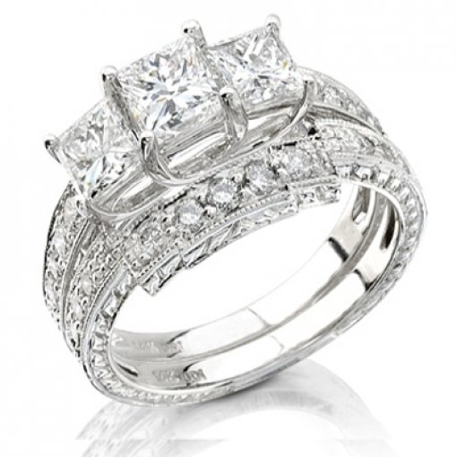 1.4 carat Princess Bridal Set
