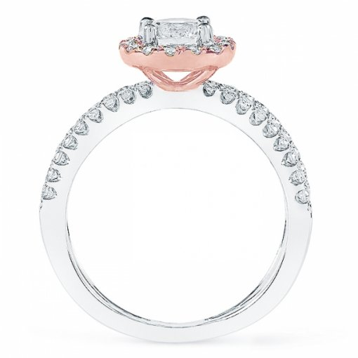 1.36ct Round Diamond White Gold Halo Engagement Ring