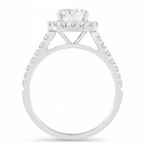 1.45ct Round White Gold Halo Diamond Engagement Ring