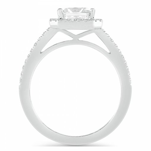 1.52ct Princess Cut Diamond White Gold Halo Engagement Ring