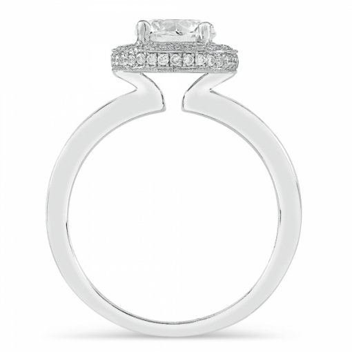 1.26ct Round White Gold Diamond Halo Engagement Ring