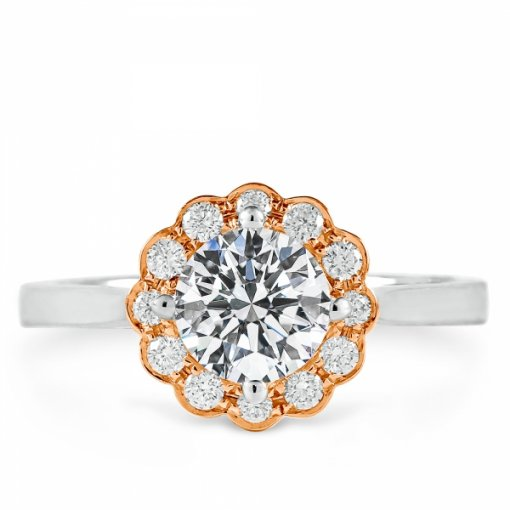 1.23ct Round Two Tone Gold Halo Diamond Engagement Ring