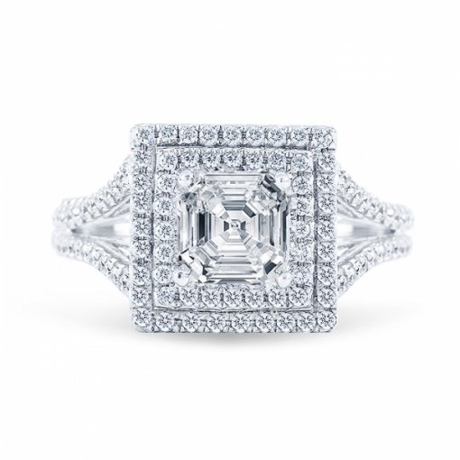 Semi Mount Double Halo Split Shank White Gold French Pave setting with 0.63ctw Round Diamonds.