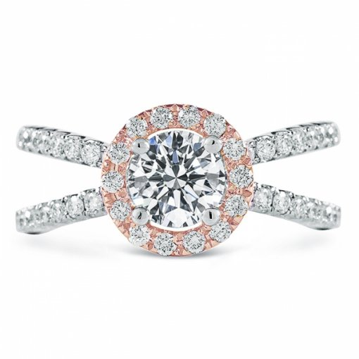 Semi Mount 18K White Gold Halo Engagement Ring with 0.56ctw Round Diamonds