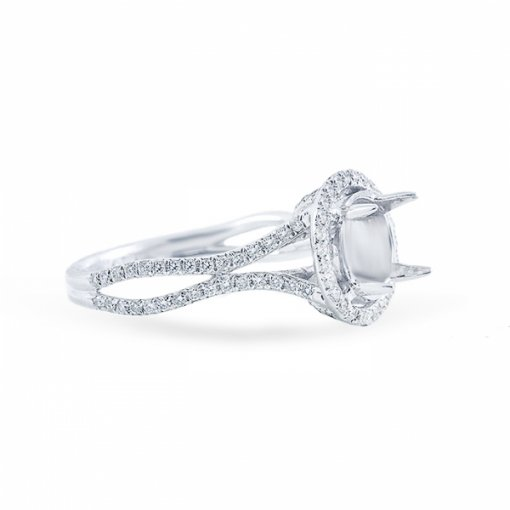 Semi Mount 14K White Gold Double Halo Curved Split Shank French Pave Engagement Ring set with 0.50ctw Round Diamonds.