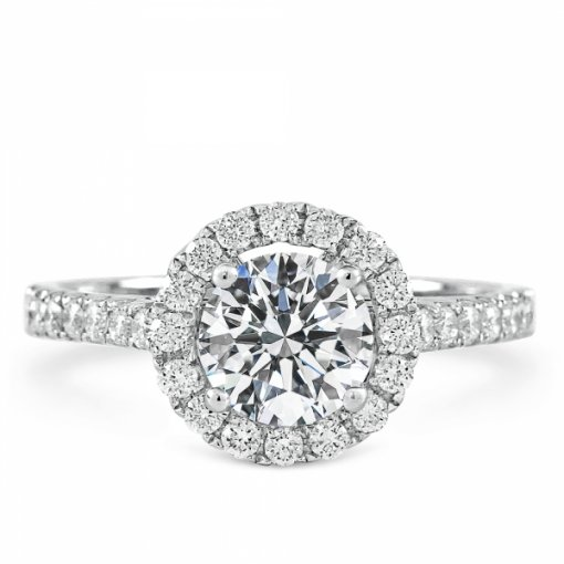 Semi-Mount 18K White Gold Halo Diamond Engagement Ring with 0.45ctw Round Diamonds