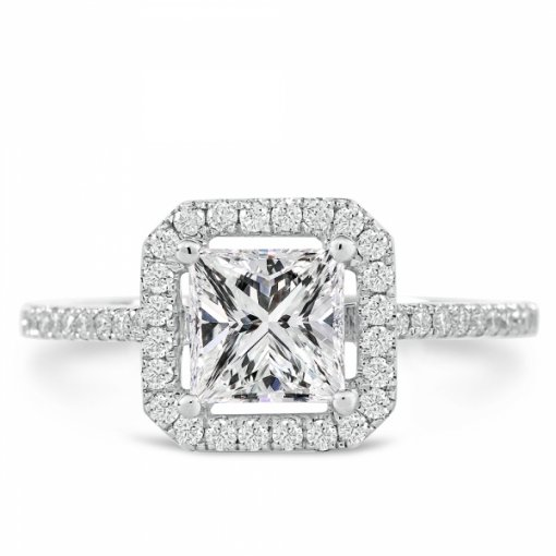 Semi-Mount 18K White Gold Halo Engagement Ring with 0.31ctw Princess Cut Diamond