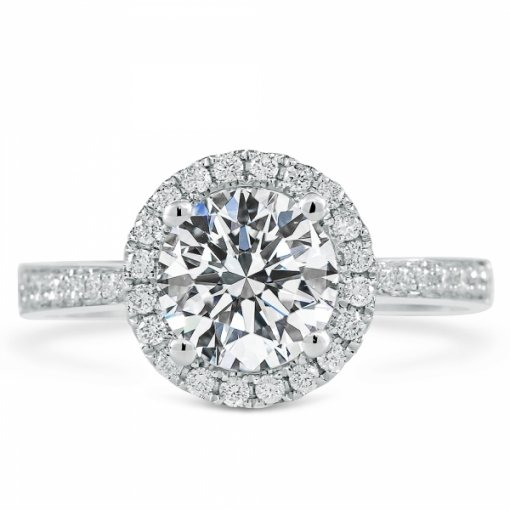 Semi-Mount 18K White Gold Engagement Ring with 0.51ctw Round Diamonds