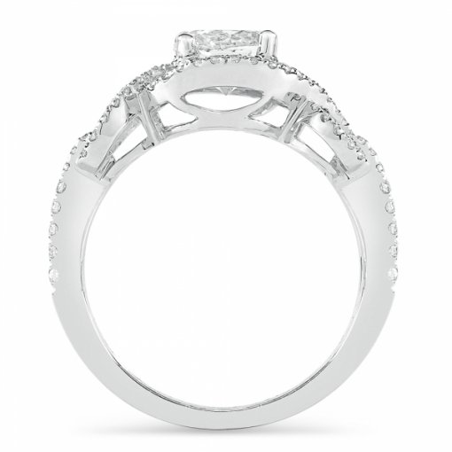 Semi-Mount 18K White Gold Engagement Ring with 0.27ctw Round Diamonds