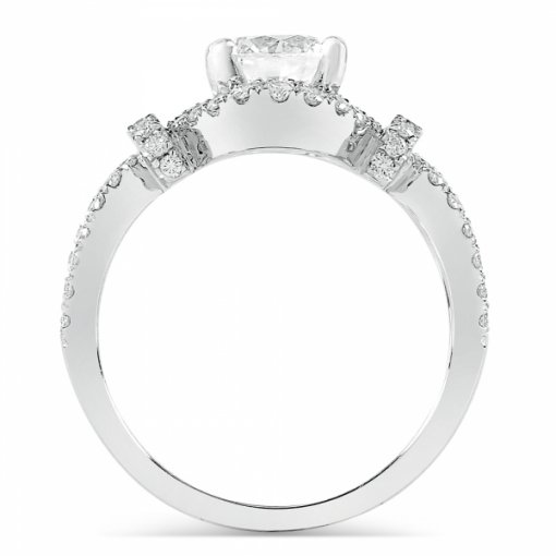 Semi-Mount 18K White Gold Pave Engagement Ring with 0.6ctw Round Diamonds