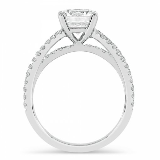 Semi-Mount 18K White Gold Split Shank Engagement Ring with 0.53ctw Round Diamonds