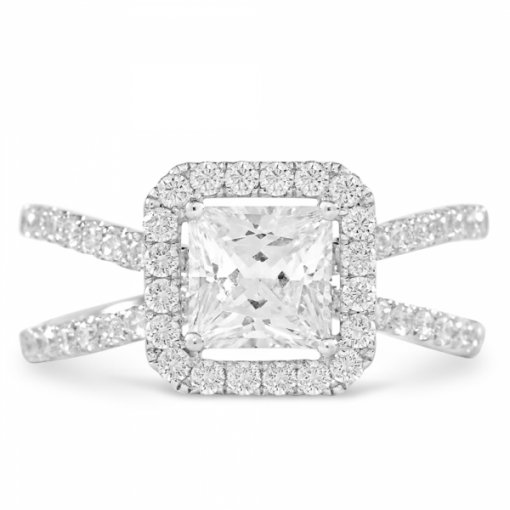 Semi-Mount 18K White Gold Halo Engagement Ring with 0.69ct Princess Cut Diamonds