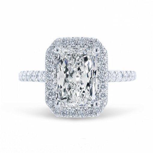 Semi Mount 14K White Gold Halo  Engagement Ring is set with 0.52ctw Round Diamonds. Available in Cushion, Emerald, and Radiant.