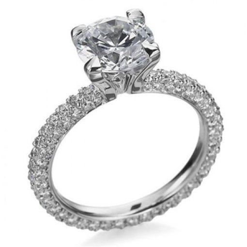 Semi-Mount Vintage Pave Setting with 1.50 carat Round Cut Diamonds
