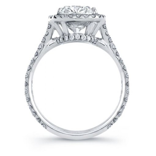 Semi Mount Halo Engagement Diamond Ring with 1.25 carat of Round Cut Diamonds